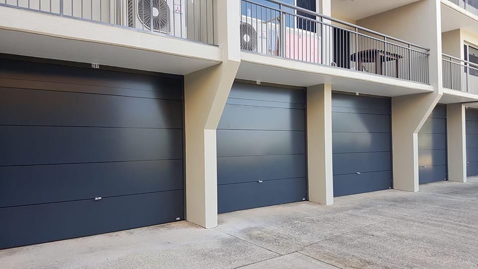 Tilt garage doors for apartment block in caloundra.